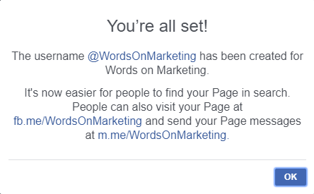Page username confirmation