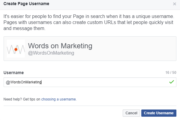 Create Page username popup