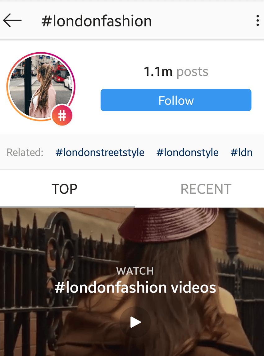 Follow hashtag on Instagram