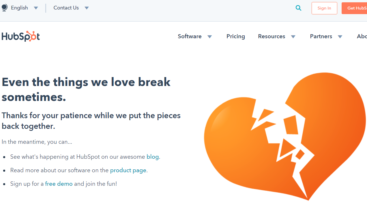 Hubspot's custom 404 page