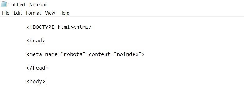 Where to place noindex meta tags